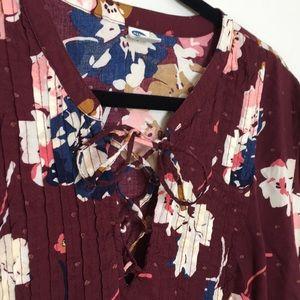 Old Navy Dresses - Floral boho tie up dress burgundy x large